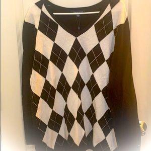 New Tommy Hilfiger Argyle V-Neck Sweater Size XXL
